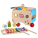 Rolimate Xylophon und Hammerspiel mit Steckwurfel Holz, 3 in 1 Musikspielzeug Nachziehspielzeug fur Kinder 1 2 3 Jahre