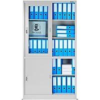 Armadio per ufficio con porte scorrevoli SD005B, Classificatore, Porta-finestra di vetro, chiudibile a chiave, scelta di colore, 185 cm x 90 cm x 40 cm (H x L x D) (grigio/grigio)