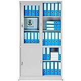 Aktenschrank SD005B Büroschrank mit Schiebetüren Glasvitrine 2 Abteile Stahlblech Fachböden Pulverbeschichtung abschließbar 185 cm x 90 cm x 40 cm (grau/grau)