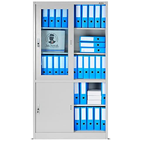 Büroschrank mit Schiebetüren SD005, Aktenschrank, Flügeltüren aus Glas, abschließbar, Farbwahl, 185 cm x 90 cm x 40 cm (H x B x T) (grau/grau)