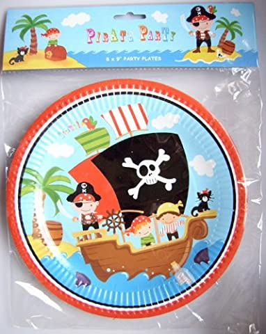 Anker Pirate Party Wares Paper Plates, Plastic, Multi-Colour, 8 x 9-Inch
