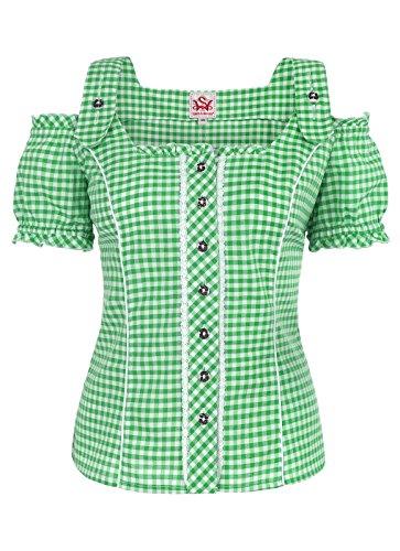 Spieth & Wensky - Damen Trachten Bluse kariert in verschiedenen Farben, Pilla (009567-0115), Größe:38;Farbe:Grün/Weiß (2544)