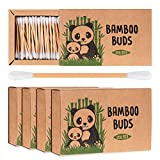Bamboo Cotton Buds by Bamboo Buds | Pack of 4 Eco-Friendly and Biodegradable Cotton Buds (800pcs) | Plastic Free Packaging