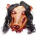 Masque d'horreur en latex Motif cochon Jigsaw Pour halloween
