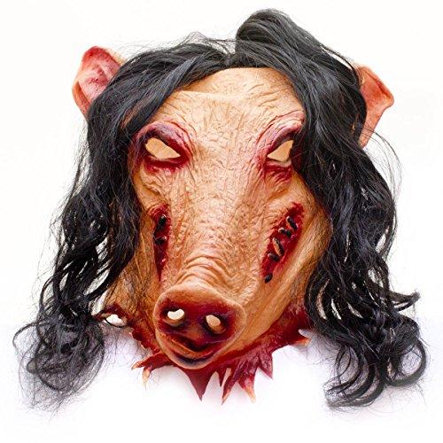 Halloween Jigsaw Kostüm (Horror Schweinemaske Pig Schweine Latex Maske Schwein SAW Jigsaw)