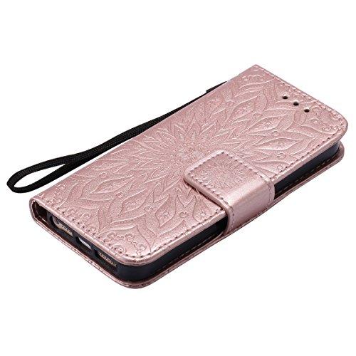 iPhone 6s Hülle,iPhone 6 Hülle Flip Case,Ekakashop Retro Lila Sonnenblume Muster Bookstyle PU Lederhülle Tasche Schutzhülle Schale Weichen Silikon Klapptasche Etui Magnetverschluß mit Standfunktion Ka Rosa Golden