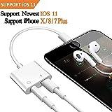 2 en 1 Lightning a 3,5 mm Adaptador de audio, iPhone 8/8 Plus/7/7Plus/X cargador, Lightning a 3,5 mm AUX Jack de auriculares adaptador. Apoyo música volumen y teléfono Calling,Apoyo iOS 10.3/11