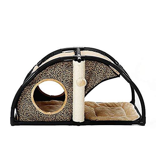 RZJ-Cat tree Tierhöhle für Katzen und Hunde Katzennestbett Klettergerüst Aktivitätscenter Abnehmbare Kombination Multifunktionaler Tierbedarf,leopardprint