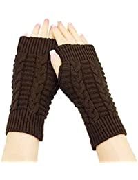 Amonfineshop(TM) Fashion Strick Arm Fingerwinterhandschuhe Unisex weiche warme Fausthandschuh (Kaffee)