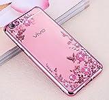Vivo V5 Plus Case, KolorFish Little Flower Butterfly TPU Transparent Back Cover Case For Vivo V5 Plus - Rose Pink