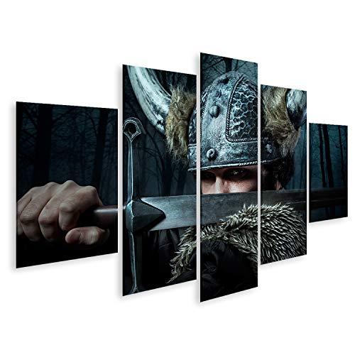bilderfelix® Bild auf Leinwand Verteidigung, Wikinger-Krieger, Mann im barbarischen Stil mit Schwert, Bart Wandbild Leinwandbild Kunstdruck Poster 170x80cm - 5 Teile