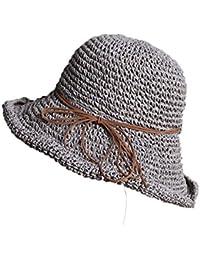 Hulday Sombrero Flojo para Mujer Sombrero De Paja Plegable Sombrero para  Estilo Simple El Sol Sombrero Elegante De Playa Sombrero… b3c7305c7df