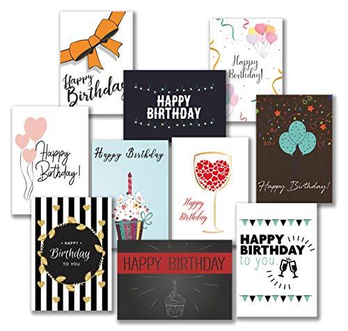 30 Premium Geburtstagskarten und Umschläge - inklusive E-Paper mit den schönsten Geburtstagsgrüßen für den Selbstdruck - 10 hochwertige Geburtstagskartendesigns - 100{8e9bb616b020552d79e016bb9271b57b2f614da41af7639a194deaa97630c559} Made in Germany - von Davom