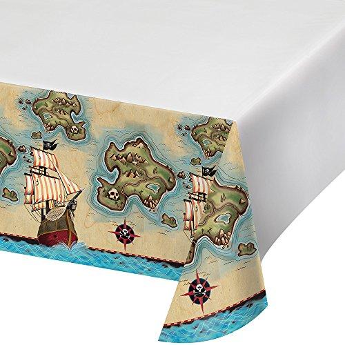 onverting 725969Border Print Kunststoff-Tischdecke, 137,2x 259,1cm Pirate 's Karte ()
