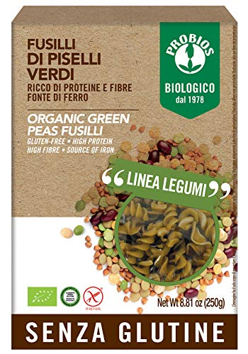 Probios Fusilli 100% Piselli Verdi - Confezione da 1 x 250 g, Senza glutine