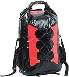 Semptec Urban Survival Technology Rollbeutel-Rucksack: Wasserdichter Trekking-Rucksack aus LKW-Plane, 30 Liter, rot/schwarz (Rucksack mit Rolltop-Verschluss)