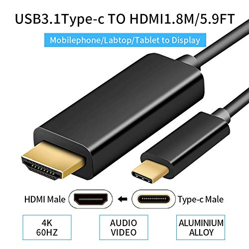 YOUTINGHDAV USB 3.1 Type C to HDMI Male 1.8 Meter Cable 4K@60hz USB C 3.1 to HDMI Kabel (5.9ft/1.8m) - Pack 12 2 Hdmi-kabel Ft