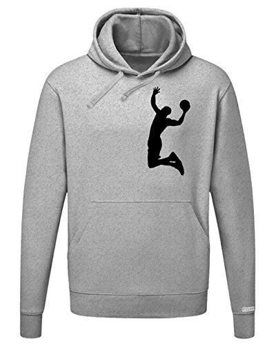 Basketball Dunk - Herren Hoodie Kapuzenpullover Graumeliert - Schwarz