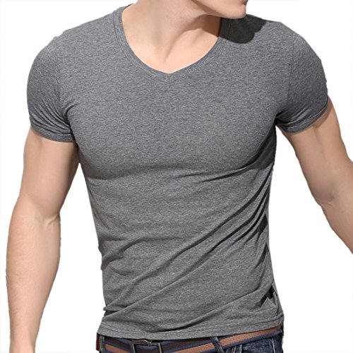 Uomo Cotone Fit T Shirt girocollo Collo Solido Muscoli Slim Top Camicie Tee Dark grigio