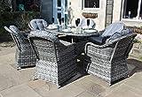 Gartenmöbel-Set aus Rattan, luxuriös, oval, Esstisch, 6 Sitze, Grau