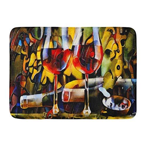Goodshope Fußmatte für den Innen- und Außenbereich, Fußmatte mit Weinmotiven in den Kubismus, Flaschen, Gläser und Trauben, Tisch, Öl auf Leinwand, Pastellgemälde, rutschfest, 40,6 x 61 cm (Küche-dekor-trauben)