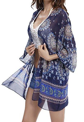 Jusfitsu Femmes Gland Été Kimono Dentelle Crochet T-Shirt Top Cardigan Blouse Tunique Bleu