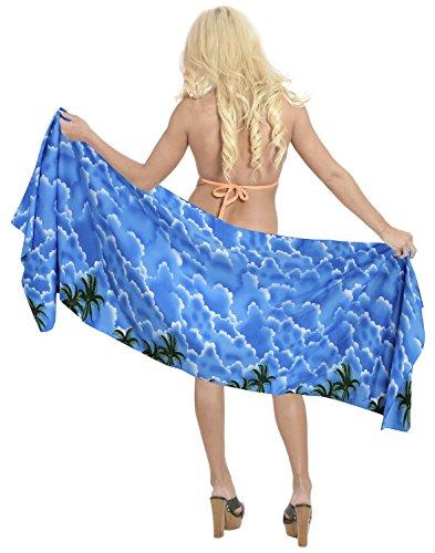 Schalfrauen Bademoden Bikini Badeanzug Wrap Badebekleidung Schal mini Sarong kurzen Mini halb blau (Schal Sarong Wrap)