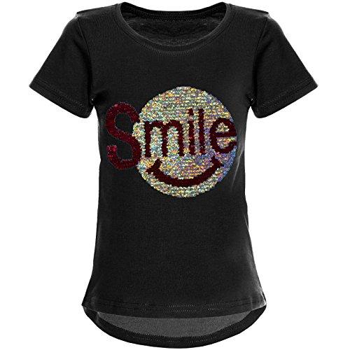 BEZLIT Mädchen Wende-Pailletten T-Shirt Tollem Motiv 22030 Schwarz Größe 164