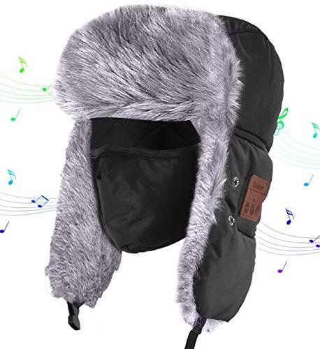 HANPURE Fliegermützen, Winter Mütze mit Bluetooth, Fellmütze eingebauten Stereo-Lautsprecher für Outdoor-Sportarten, Skifahren, Laufen, Skaten, Walking,, Unisex