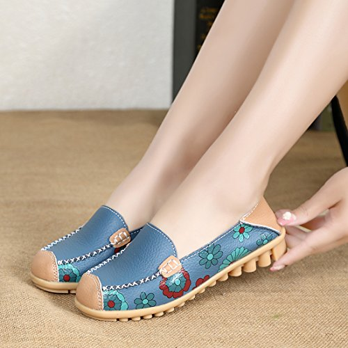 Z.SUO Damen Leder Casual Loafers Flatschuhe Low-top Schuhe Erbsenschuhe Fahren Halbschuhe Slippers Blau.1