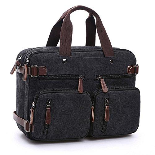 Etasche Vintage Umhängetasche Schultasche Arbeitstasche Laptoptasche Handtasche Schultertasche für Damen Herren (Kaffee) Schwarz