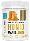 Sauna Meersalz Peeling Salz Saunasalz | Honig Mandel 500g | mit Jojobaöl | Kosmetik für die Haut | Ideale Wellness