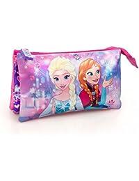 Disney La Reine des Neiges 59121 Trousse, 3 Compartiments, Scolaire, Voyage, Polyester, Multicolore, Anna, Elsa, Frozen