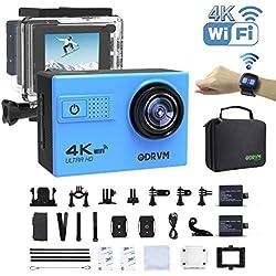 Caméra Étanche 4K Plongée Sous Marine 30M Caméra WiFi 4K Connecter Sur Smartphone UHD 4K Et 20Mp Équipée plus de 20 Accessoires Pour Plongée, Drone, Natation, Motocylette Etc