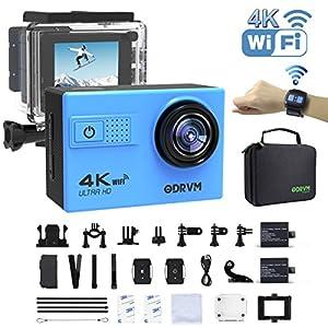 Action Cam 4K WiFi 1080P 60FPS, 20 MP Unterwasserkamera, 2.4G Fernbedienung und 2 1350mAh Akkus für Extremsport (OD7200-WIFI-DK-BLUE)