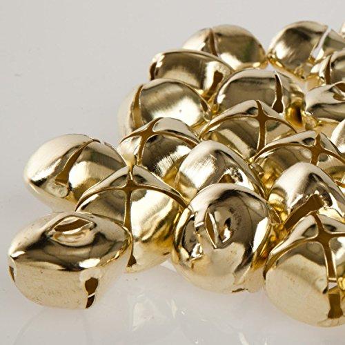 50 Stück 24 mm Kreuzschellen Glöckchen Schellen aus Eisen - mit Öse - Weihnachten - Kleenes Traumhandel® - (Gold Farbend)