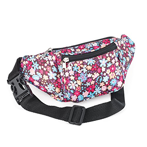 Brown and Multi Flower Print Bum Bag Fanny Pack Festivals Holiday Wear (Multi-flower-print)