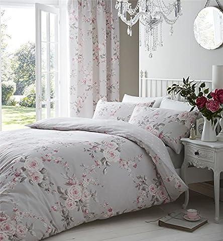 Grau Pink Rose Floral King Größe Bettwäsche