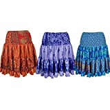 Mogul Interior Womens Silk Skirt Flared Naomi Recycled Sari Tiered Knee Length Skirts Wholesale Set Of 3