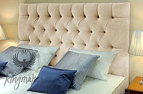 TrendMakers Premium 5FT Kingsize Tufted Chester Chenille Deep Matching Buttons Headboards Padded Classic Home Bedroom - Cream - Height 26