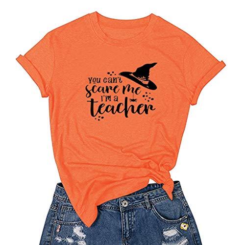 Vimoli T-Shirt Dame Halloween Musterdruck Tee Übergrößen Kurzarm O-Ausschnitt Pullover Lässige Kleidung Tops -