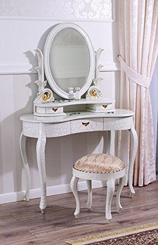 Tocador barroco veneciano blanco craquelado. Conjunto de mesa de maquillaje con cajones, taburete de maquillar y espejo.