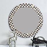 Casa Decor Trigon Grade Mirror Wall Hanging Wooden Wall Decor Round Shape For Living Room, Bedroom, Kids Room