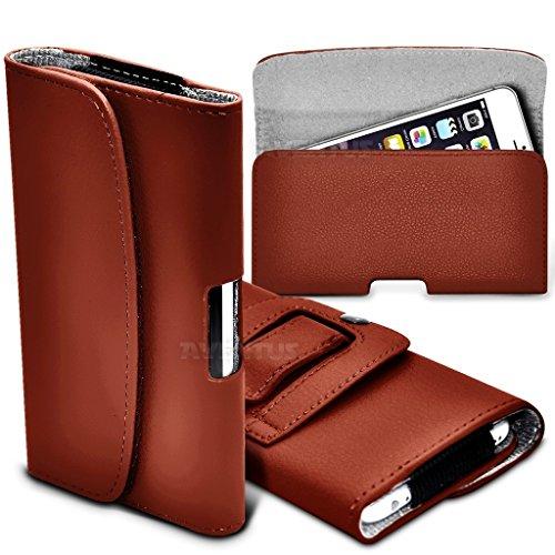Aventus (Nero) Apple iPhone 5 / iPhone 5s / iPhone 5c Custodia Orizzontale da Cintura in Finta Pelle di Alta Qualità con Clip e Chiusura Magnetica Marrone