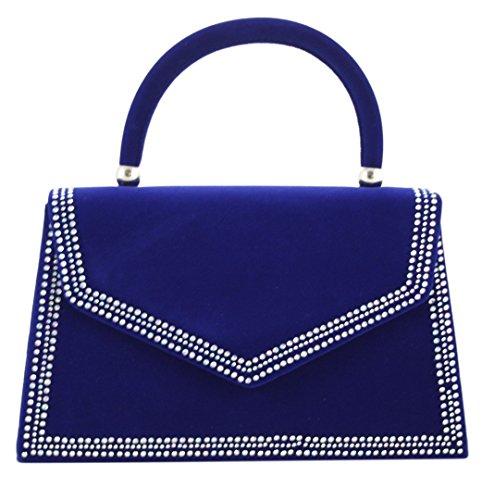 Girly HandBags Nuova Pochette In Velluto Manico Pelle Scamosciata Diamante Finto Celebrità Donne Spalla Moda Colori Blu