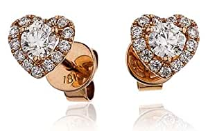0.60CT Certified G/VS2 Round Brilliant Cut Centre with Heart Shape Halo Diamond Stud Earrings in 18K Rose Gold
