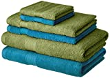 Amazon Brand - Solimo 100% Cotton 6 Piece Towel Set, 500 GSM