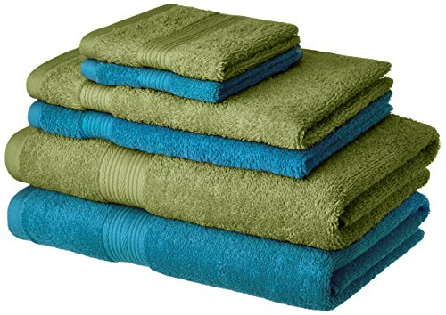 Amazon Brand - Solimo 100% Cotton 6 Piece Towel Set,...