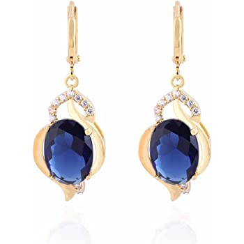 90eac72d9 YAZILIND Charming Smooth Gold Plated Inlay Oval Sea Blue Cubic Zirconia  Dangle Drop Earrings for Women