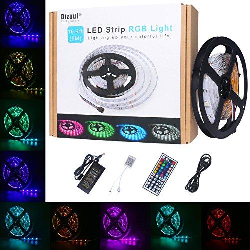 Dizaul® 5M LED Streifen Flexibler Lichtschlauch 150leds SMD5050 RGB Farbwechsel LED Lichtkette,LED Strip Mit 44 Key Fernbedienung und 12V 3A Netzteil hier kaufen